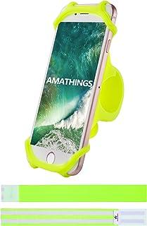 Amathings Mobielhouder voor fiets die zowel om het stuur van je fiets als auto past, geschikt voor smartphones van 10-15 c...