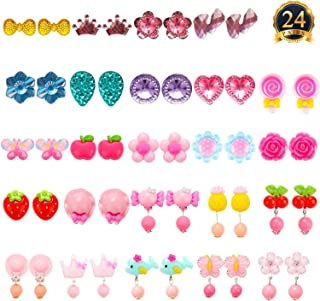 HaiMay 24 Pairs Clip-on Earrings Girls Play Earrings for Party Favor, All Packed in 3 Clear Boxes