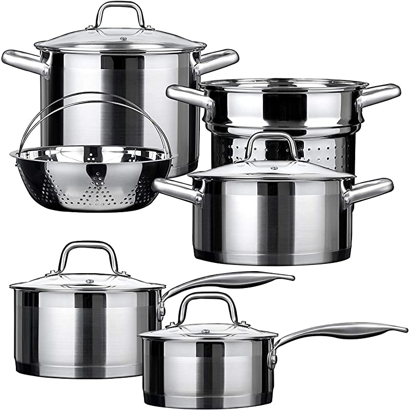 Duxtop Professional Stainless Steel Induction Cookware Set Impact Bonded Technology 10 Pc Set