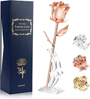Rose Gold Plated Real Rose Gift for Her, Natural Rose Dipped with Rose Gold for Her Wife Women Mother Best Friend on Birthday Valentines Wedding Anniversary Engagement Graduations, Rose Gold Plated