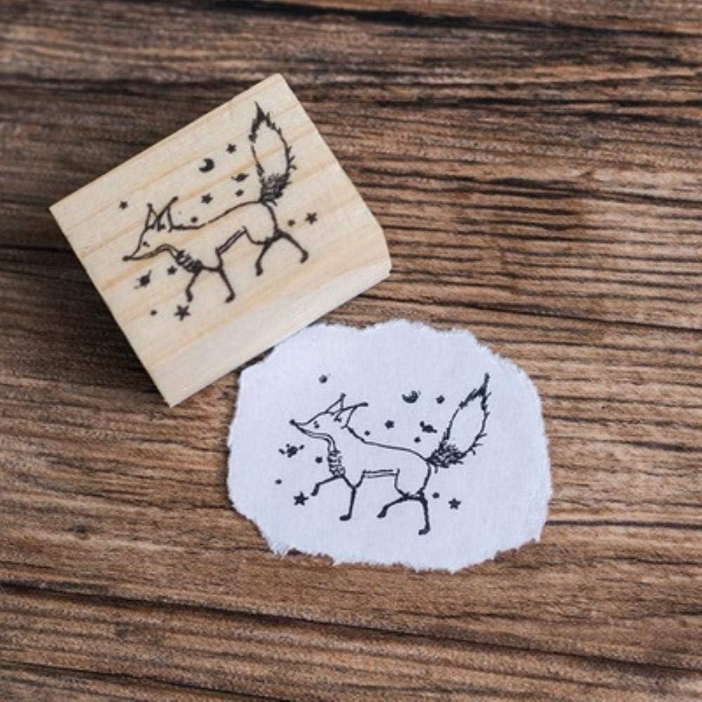 S/ü/ße kleine Prinz Rose Erde Fuchs Sonnenuntergang Scrapbooking Holz Stempel Cartoon Tier Design Holz Handwerk Stempel 6 Muster verf/ügbar Erde 35x55mm