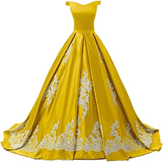 off shoulder yellow gown