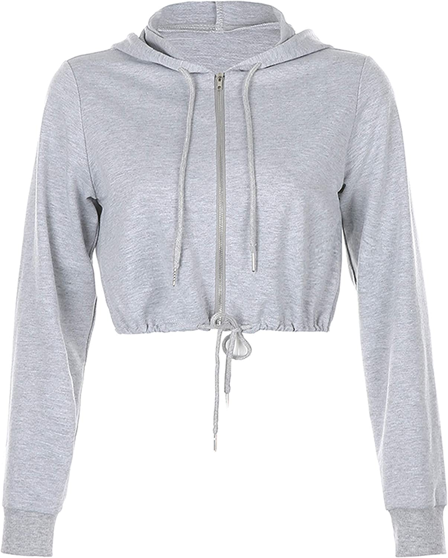 Yimoon Women's Casual Zip Up Long Sleeve Crop Top Hoodie with Drawstring