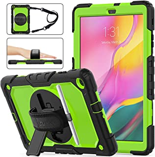 Samsung Galaxy Tab A 10.1 T510/T515 Case 2019, SEYMAC Stock [Full-Body] Drop Proof &Shockproof Hybrid Armor Case with 360 Rotating Stand [Pencil Holder] Hand Strap for Galaxy Tab A 10.1 (Green+Black)