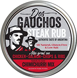 Dos Gauchos Famous Argentina Steak Rub and Gourmet Chimichurri Seasoning Spices, Gluten Free All Natural Low Salt No MSG, 2.5 oz