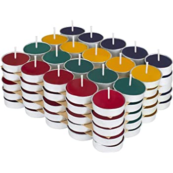 Kaameri Bazaar - Colored Wax Tealight Candles (Set of 100, Unscented)