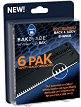 baKblade 2.0 - Back Hair and Body Shaver Refill Replacement Cartridges for 2.0 and Elite Shavers - Dryglide Technology (6 Razors Included)