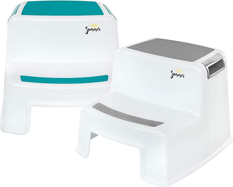 2 Step Stool For Kids 2 Pack Grey Teal Dual Height Toddler Step Stool For Potty Training Kid Step Stool For Kitchen And Bathroom Sink Slip Resistant Grip For Safety By Ashley Summer