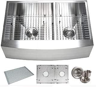 33 Inch Zero Radius Design 16 Gauge Double 6040 Bowl Stainless Steel Curve Farmhouse Apron Kitchen Sink Premium Package