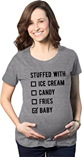 Maternity Stuffed With Ice Cream Candy Fries Baby Tshirt Funny Pregnancy Graphic Novelty Tee (Dark Heather Grey) - S