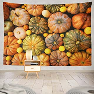 ONELZ Halloween Pumpkin Tapestry, Wall Hanging Tapestry, Autumnal Pumpkins Harvest Thanksgiving Decor Collection Bedroom Living Room 60 L x 80 W Polyester, Autumnal Pumpkins