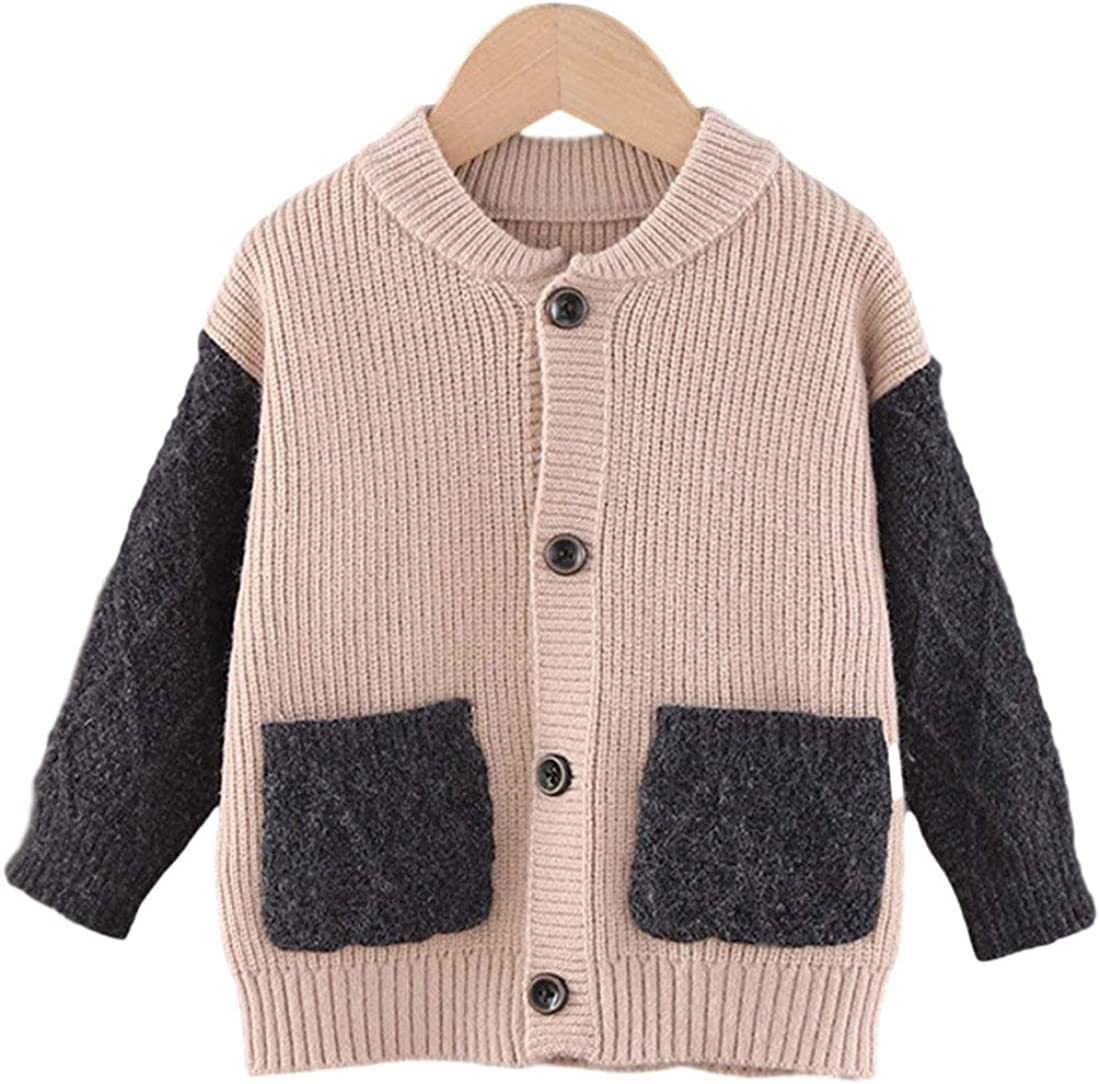 AMEBELLE Toddler Boys Girls' Color Block Button Down Sweater Coats with Pocket