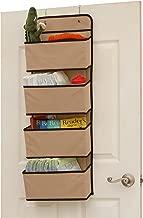 SimpleHouseware 4 Pocket Over The Door Wall Mount Hanging Organizer, Beige