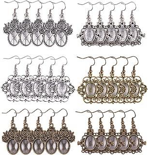 PH PandaHall 36pcs 3 Styles Tibetan Alloy Pendant Tray Bezel Cabochon Settings, 40pcs Oval Transparent Glass Cabochons and 40pcs Brass Earring Hooks (Antique Silver & Bronze)