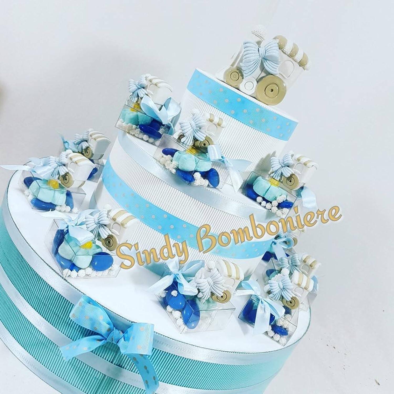 Kuchen Süigkeiten Plexiglas Zug Baby Taufe Geburt Torta da 20 bomboniere + centrale