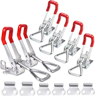 CBTONE Toggle Clamp 4001 and Pull Action Latch Type Toggle Clamp, Heavy Duty Adjustable Hand Tool Quick Release Pull Latch for Door, Tool Boxes, Trunk, Jig (6 Pack)