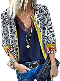 FSSE Womens Casual 3/4 Sleeve Open Front Print Loose Fit Cardigan Jacket Coat