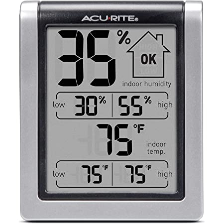 """Digital Hygrometer & Indoor Thermometer Pre-Calibrated Humidity Gauge, 3"""" H x 2.5"""" W x 1.3"""" D, Black"""