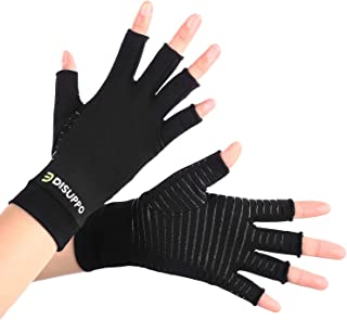 DISUPPO Copper Infused Compression Arthritis Gloves with Non-Slip Silicone Gel. Copper Fit Gloves for Arthritis, RSI, Carpal Tunnel, Swollen Hands, Tendonitis, Everyday(Cooper Infusion, M)