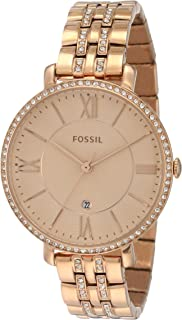 Fossil Jacqueline Women'S Rose Gold Dial Stainless Steel Band Watch Es3546, Quartz, Analog