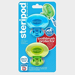 Steripod Clip-on Toothbrush Protector (2 count) - Colors May Vary