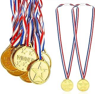 Caydo 24 Pieces Children's Gold Plastic Winner Award Medals, 1.38 Inch