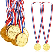 Caydo 24 Pieces Children's Gold Plastic Winner Award Medals, 1.38 Inch