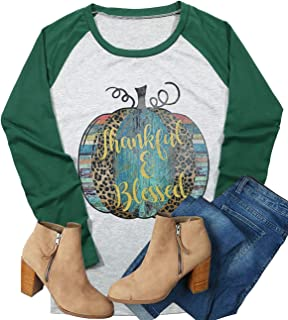 Thankful Blessed Thanksgiving T-Shirt Leopard Pumpkin Letter Graphic Tees Women Fall Casual Long Sleeve Shirts Tops