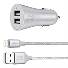 Belkin F8J219-05-SLV Studio 4.8A 24W 2 Port car Charger with 1.5 Meter Lightning Cable for iPhone iPad (Silver)