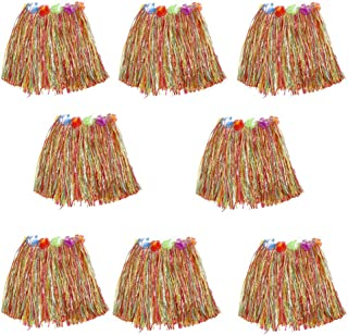 HLJgift Kid's Flowered Luau Hula Skirts Pack of 8