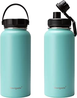 NAVIGATE 32oz Wide Mouth Stainless Steel Water Bottle with Bonus Lid, Double Walled Vacuum Insulated Travel Sports Flask Thermos |Keep Drink Stay Cold & Hot, Leak Proof