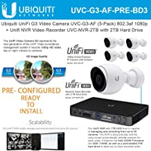Ubiquiti UniFi G3 Video Camera UVC-G3-AF (5-Pack) 1080p with Unifi Video Recorder UVC-NVR-2TB 2TB Hard Drive - Pre-Configured/Ready to Install -