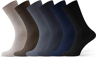 Calcetines Hombre Algodón 6 y 12 pares Paquete Múltiple Saludable Para Diabeticos Ajuste Relajado Sin Cintura Elástica Sin Presión