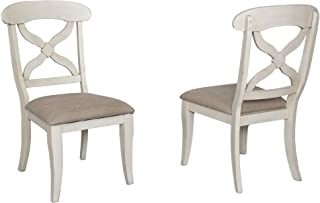 Sunset Trading Andrews Dining Chair, Antique white finish
