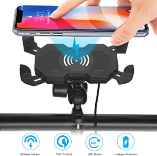 Leepiya Motorcycle Phone Mount with Wireless Charger.10W Qi Fast Charging Cell Phone Holder for Motorcycle ATV Boat Snowmobile.Compatible with iPhone Xs MAX XR X 8 8P.Samsung S10 S10P S9 S9P S8 S8P