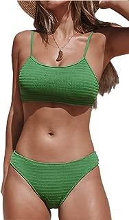 CUPSHE Women's Matcha Story Solid Smocking Bikini Set