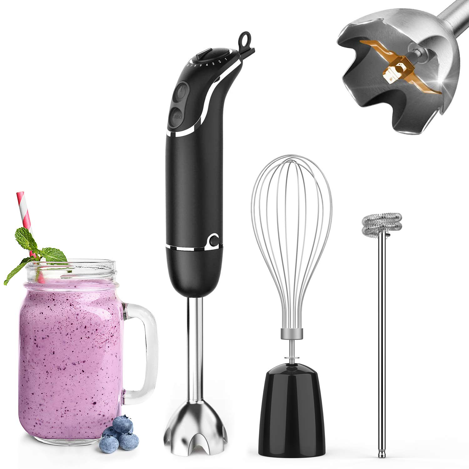 KOIOS Hand Immersion Blender with Whisk