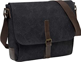 Medium Messenger Bag,Vaschy Vintage Leather Canvas Men's Crossbody Shoulder Bag For Ipad