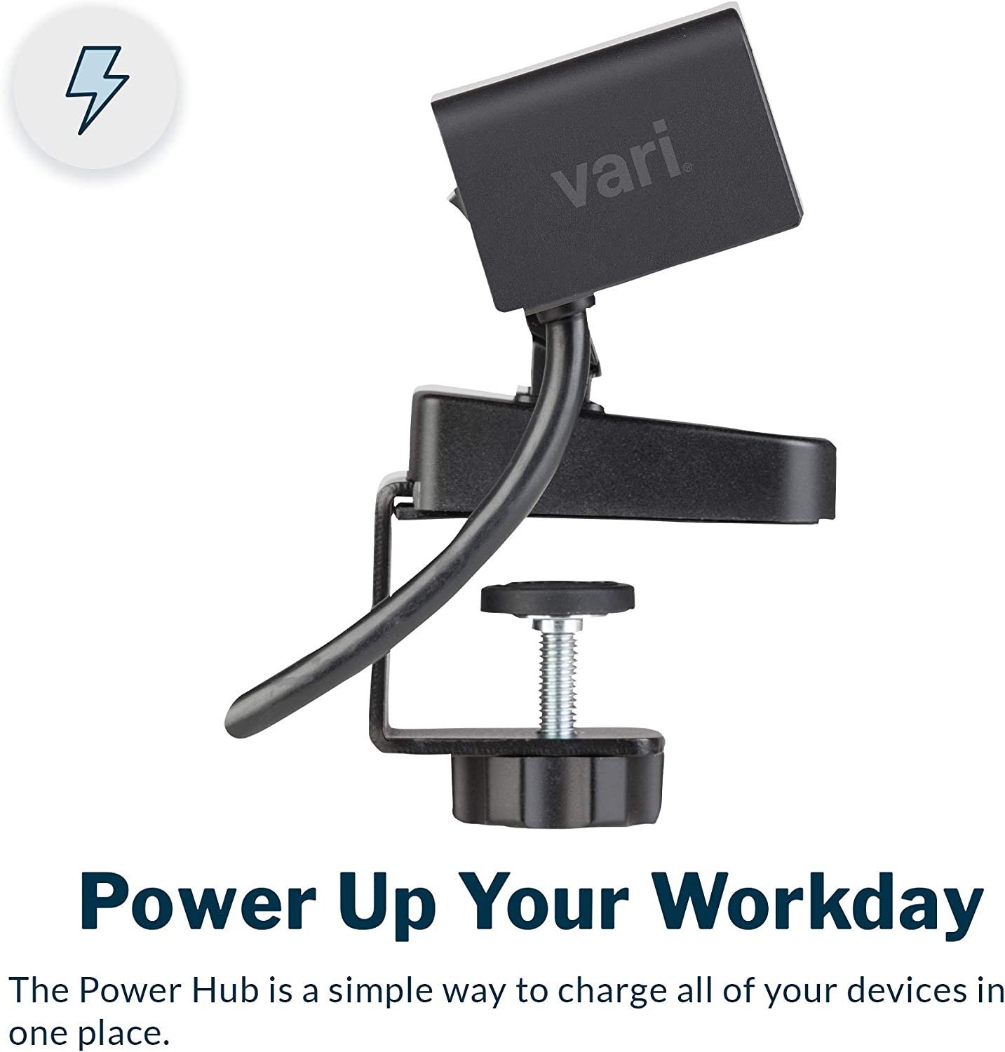 Vari Power Hub - Charging Power Station with Desktop Mount - 3 AC Outlets and 2 USB Ports - 12' Cord - Work or Home Office - No Tool Assembly