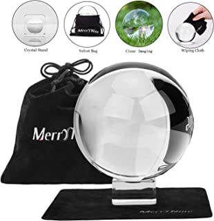 Photograph Crystal Ball with Stand and Pouch, K9 Crystal Suncatchers Ball with Microfiber Pouch, Decorative and Photography Accessory (110mm/4.33