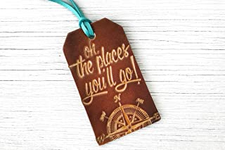 Oh The Places You'll Go Leather Luggage Tag