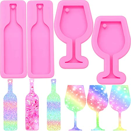 Lips Heart Keychain Silicone Mold Wine Bottle Glass Cup Pendant Epoxy Resin Mold