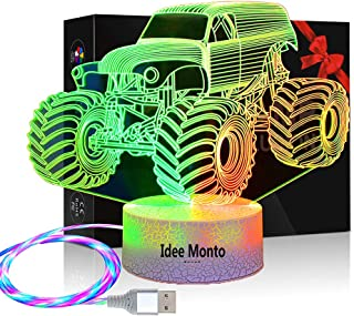 3D illusion Lamp, Monster Trucks Night Light, Kids Room...