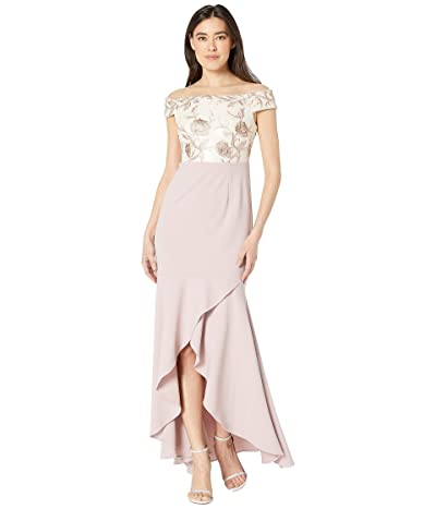 Adrianna Papell Petite Off the Shoulder Embroidered Bodice Evening Gown (Quartz) Women
