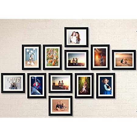 """AG Crafts™ Classic Frame with Mount Set of 12 Individual Photo Frames (6""""x8""""-12 Set with Mount) (Black with Mount)"""