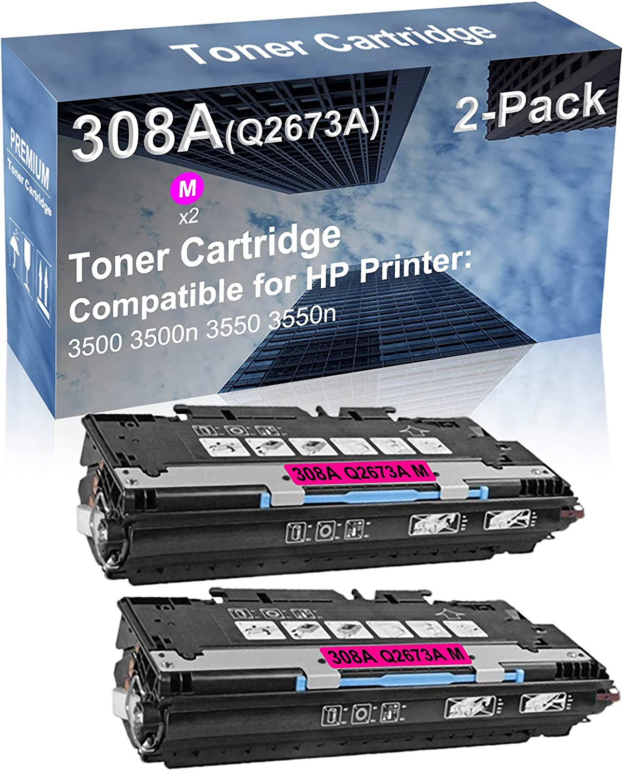 2-Pack (Magenta) Compatible High Yield 308A 309A (Q2673A) Laser Printer Toner Cartridge use for HP 3500 3500n 3550 3550n Printer