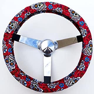 Universal Fit Cute and Fashionable Sunflower Car Accessories siruipu Sunflower Steering Wheel Cover Handmade Stretch-on Fabric Steering Wheel Cover with 2 Pcs Soft Comfort Car Seat Belt Pads Cover