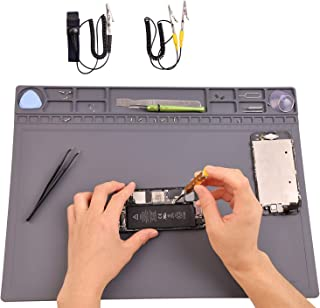 Anti Static Mat, ESD Mat with Wrist Strap and Grounding Cord, AUORY Silicone Soldering Mat Heat Resistant 932°F for Phone, Computer, Laptop Electronics Repair Assembly 15.8'' x 11.8'' Gray