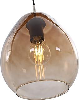 Briloner Leuchten - Pendelleuchte, Pendellampe mit rundem Vasen-Glas Metall, 40 Watt, braun