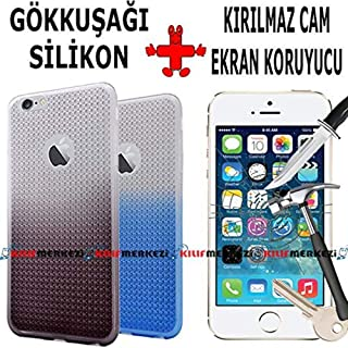 iPhone 6 6S Kılıf Rainbow Esnek Silikon + IPHONE 6S Temperli Cam Ekran Koruyucu